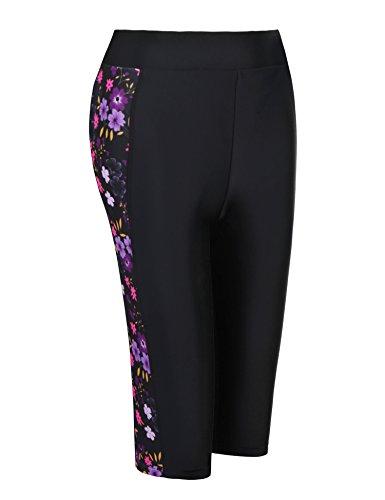 Ekouaer Women Swim Capris Pants Board Shorts Above Knees Beach Short(Black S) (Above Board Womens)