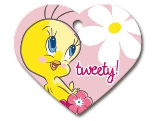 Looney Tunes Collection Licensed Personalized Custom Engraved Pet ID Tags! (Tweety Bird (Heart ()