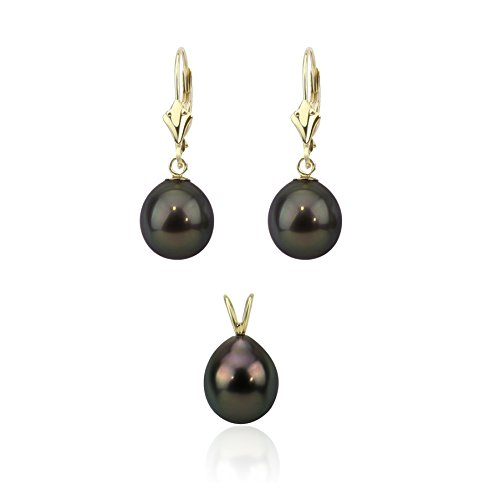 akwaya Femme 14K Poire AAA perle Boucles d'oreilles pendantes sets-029.0-10.0mm