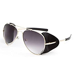 Retro Aviator Sunglasses w/ Faux Leather Side Shields (Gold Frame - Black Leather, Black)