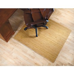 realspace r bamboo roll up chair mat 48in x 52in natural office products. Black Bedroom Furniture Sets. Home Design Ideas