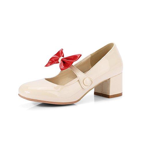 Balamasa Mujeres Bows Chunky Heels Low-cut Uppers Zapatos De Charol Con Bombas Zapatos Beige