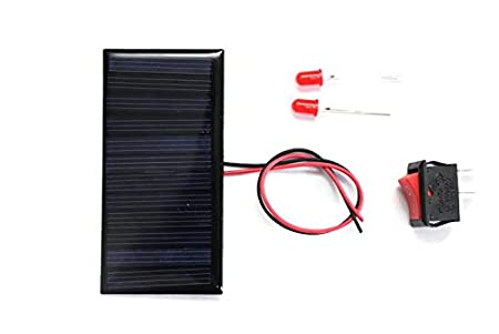 Electronicspices DIY, sOlar Panel 6v -60 Mah, 80x40 X 03 Mm, 2 Leds, 1 on/off, Wire Connect with Solar (Multicolour)
