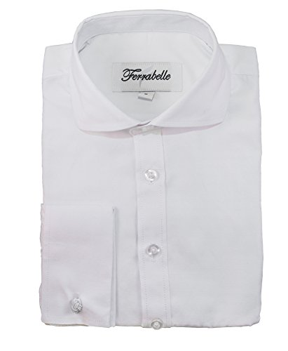 Ferrabelle Boys Shirts for Suit Formal Dress Button Down Long Sleeve with French Cuff and Cufflinks White ()