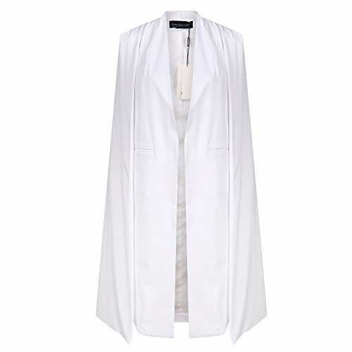 HaoDuoYi Women Casual Open Front Cape Trench Duster Coat Longline Blazer(S,White) -
