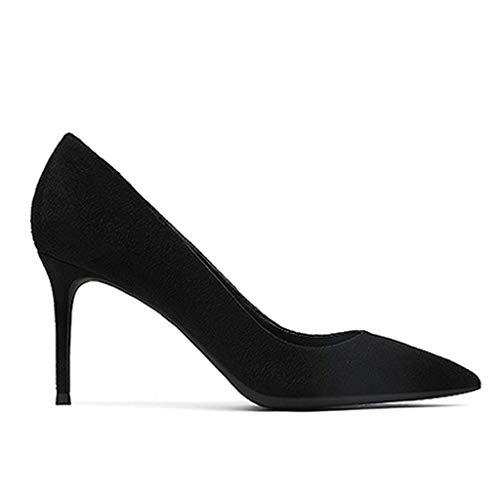 Profondes Black Pompes 8cm Tribunal Daim Yra Peu À Dames Aiguilles Bout 35 Femmes En Hauts Chaussures Pour Sexy Pointu Talons black Robe ff6UO1nzq