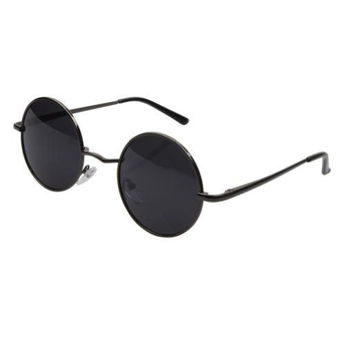 Aoron Vintage Round Sunglasses with Polarized Lenses for Retro Women and Men (Gray Frame)
