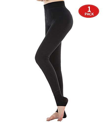 cbb7cd739e3db Fleece Lined Leggings Women Black Winter Thick Warm Stretch Elastic and Slimming  Tights for Women
