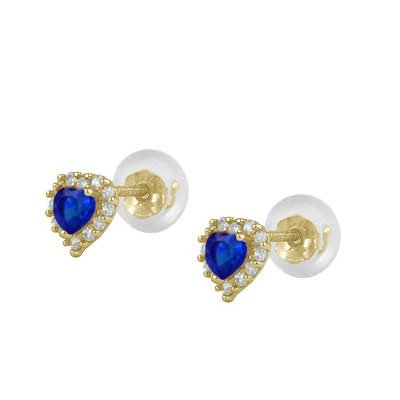 Little Girls 14K Yellow Gold Simulated September Birthstone Silicone Back Heart Earrings by Loveivy (Image #3)