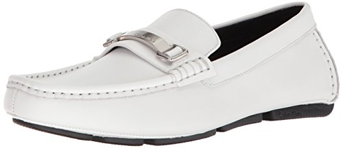 Calvin Klein Men's maddix Driving Style Loafer, White, 10.5 M US by Calvin Klein