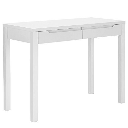 SONGMICS Simple Wooden Writing Home Office Computer Study Desk with 2 Sliding Drawers, Large Size Workstation White , XX