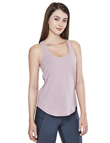 (CRZ YOGA Women's Pima Cotton Lightweight Loose Fit Workout Sports Tank Top Smoky Blush XL(14))