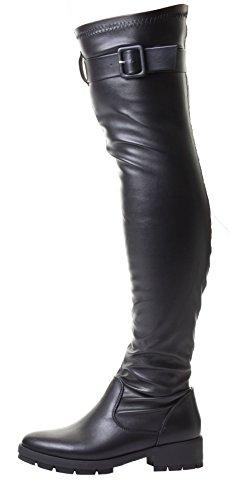 Kiley Femmes Noir Talon Daim Élastique Mollet En Forme Au-dessus Du Genou Haute Bottes Simili Cuir