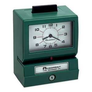 ACP011070411 - Acroprint Model 125 Analog Manual Print Time Clock with Month/Date/0-12 Hours/Minutes