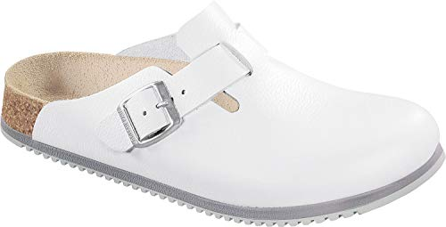Clogs White Leather - Birkenstock Men's Boston White Leather Clogs 39 W EU