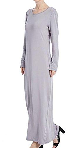 Sleeve Muslim Dresses Solid Long Grey Women's Abaya Turkey Comfy qF5OgIwT