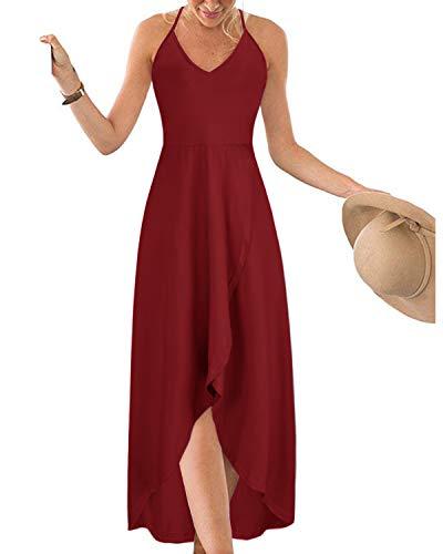KILIG Womens V Neck Sleeveless Asymmetrical Casual Maxi Dresses (Wine, M)