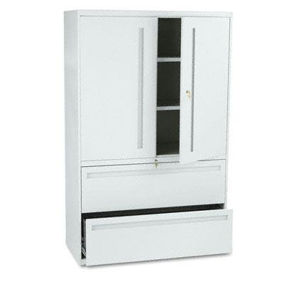 HON 795LSQ 700 Series Lateral File w/Storage Cabinet, 42w x 19-1/4d, Light Gray