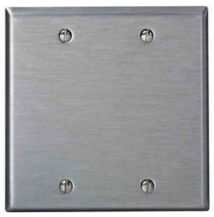 Gang Steel Plate Stainless (Leviton 84025 2-Gang No Device Blank Wallplate, Standard Size, Box Mount, Stainless Steel)
