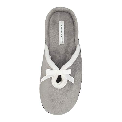 - Laura Ashley Ladies Velour Terry Slipper with Loop Grey Large