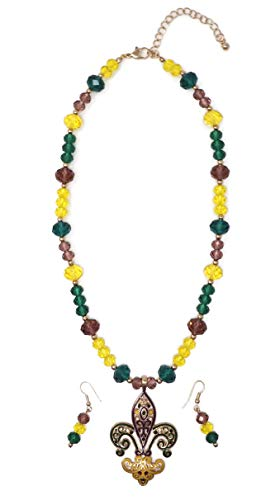 Elosee Mardi Gras Hand Painted Pendant Faceted Bead 18