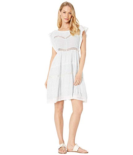 Free People Women's Retro Kitty Dress, Ivory, White, Blue, Print, Medium