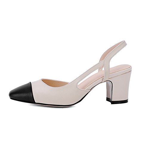 BalaMasa da donna vuoto a punta rotonda PU sandali, Beige (Beige), 35