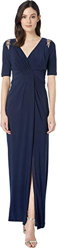 Adrianna Papell Women's Embellished Trim Jersey Evening Gown Midnight 14