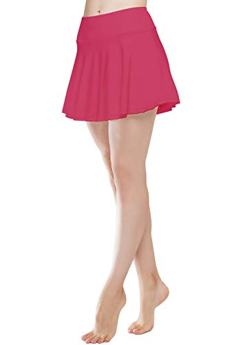 HISKYWIN Womens Active Athletic Skorts Lightweight Skirt with Built-in Mesh Shorts for Tennis Golf Running Workout HF9-Deep Pink-S ()