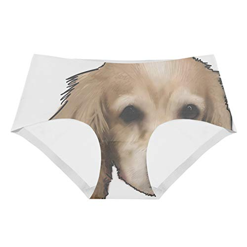 Faneilme Women's Flirty Sexy Funny Naughty 3D Printed Dog Cocker Spaniel Underwears Briefs Gifts Cocker Spaniel Dog Underwear