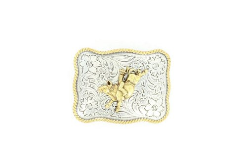 Nocona Boys' Silver And Gold Bucking Bronco Floral Etched Belt Buckle Silver ...