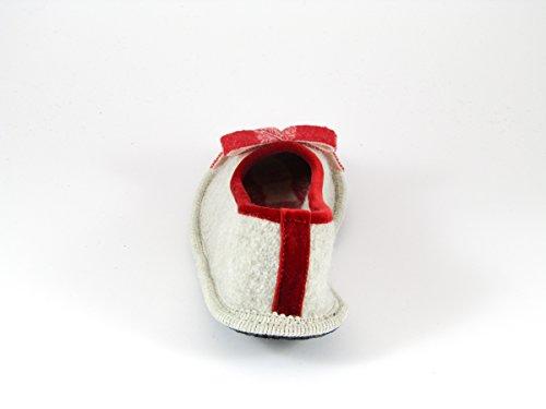 Pantofole da Donna Invernali Beige/Rosso