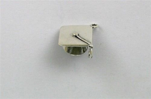 (Sterling Silver 3-D Mortar Board Charm - Jewelry Accessories Key Chain Bracelet Necklace Pendants)