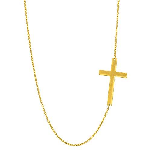14k Yellow Gold Sideways Cross Pendant On 18