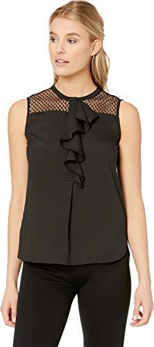 Calvin Klein Women's Sleeveless Lace/Ruffle Top Black X-Large