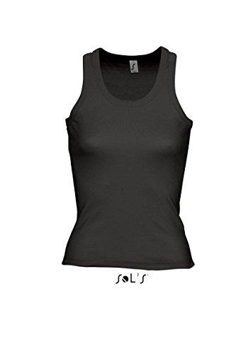 Sol's Top para mujer de coconut racer back Vest. Sin mangas T-Shirt Negro negro Talla:extra-large
