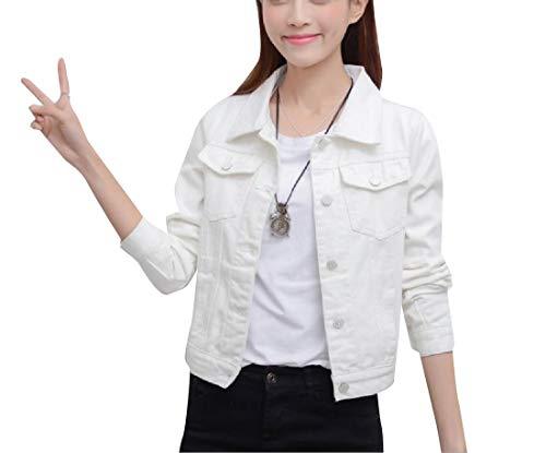 Denim RkBaoye Jacket White Pocket Breasted Jean Single Womens Long Sleeve Coat ttSUzvpqwg