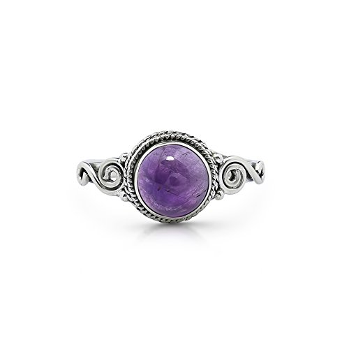 Koral Jewelry Amethyst Spiral Side Ring 925 Sterling Silver Vintage Gipsy Boho Chic US Size 5 6 7 8 9