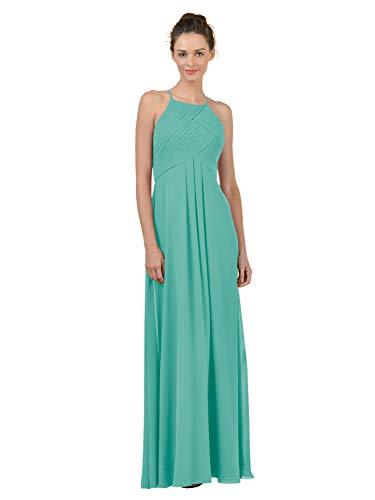 Alicepub Long Chiffon Plus Size Bridesmaid Dress Maxi Evening Gown A Line Plus Party Dress, Tiffany, US6