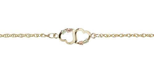 Two Hearts Ankle Bracelet 10k Yellow Gold, 12k Green and Rose Gold Black Hills Gold Motif, 10.25