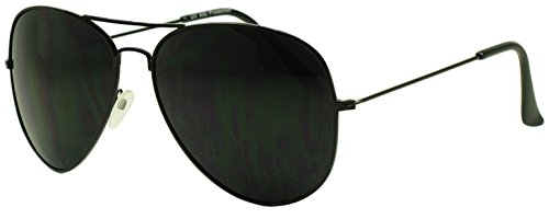 Sunglass Stop - Super Dark Blacked Out Lens Retro 80s Wayfarer Aviators Sunglasses - Unisex (Black - Out Blacked Sunglasses