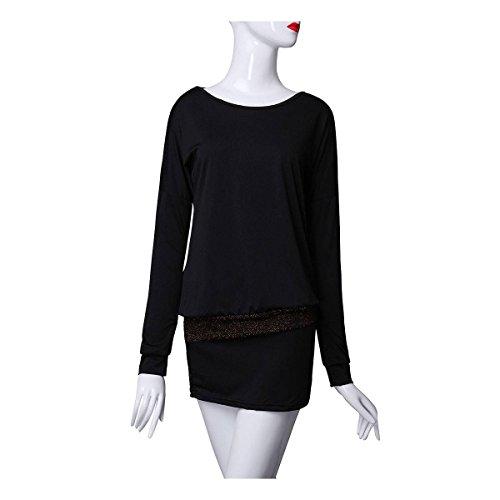 ZANZEA Mujeres Vestido Manga Batwing Cuello Redondo Bodycon Casual Mini Dress Falta Negro