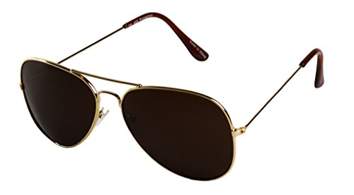 ShadyVEU - Extremely Super Dark Lens Blackout Metal Pilot Aviator Sunglasses (2 Pairs of Gold Frame, Dark Brown - Sunglasses Very Tint Dark