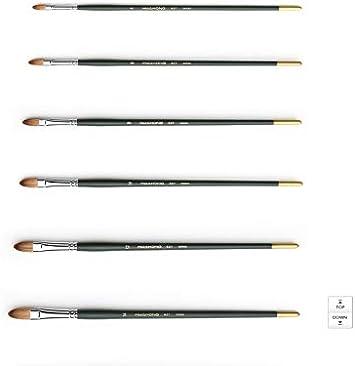 HWAHONG Artist Oil Acrylic Paint Brush Filbert Flat Brush 827 1Set 7ea Brushes