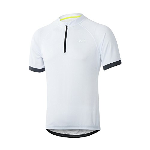 White Short Sleeve Cycling Jersey (ARSUXEO Men's Cycling Jerseys Short Sleeves MTB Bike Shirt 635 White Size Large)