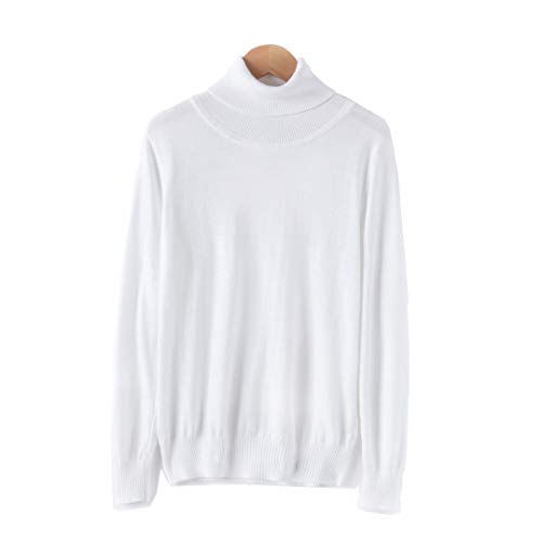 Van Royal Womens Sweater Knit Stretchable Turtleneck Elasticity Long Sleeve Pullovers (White, ()