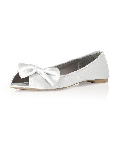 Matte Satin Rhinestone Shoe (Women's Satin Peep Toe Bridal Ballet Flats by Dessy - White - Size 11)