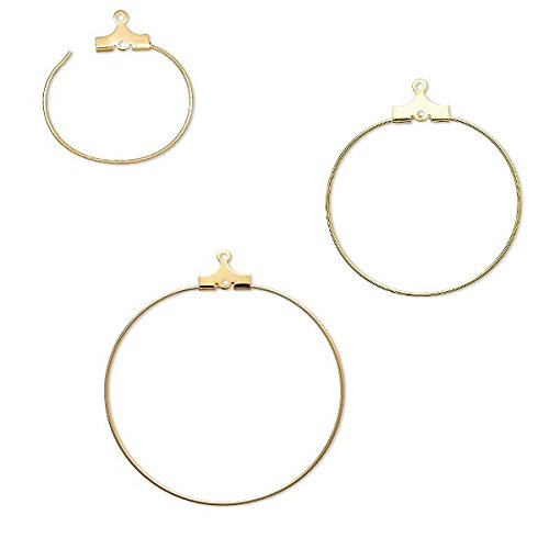 10 Gold Beading Hoop Earring Finding Components With 2 Loops Plated Brass Metal - Brass Beading