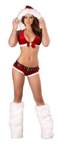 Roma Costume Women's 4 Piece Santa's Little Hohoho, Red/White, Small/Medium (Four Santa)