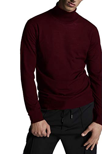 (TRENDIANO2 Mens Casual Basic Thermal Turtleneck Slim Fit Pullover Thermal Sweaters (WineRed, M))